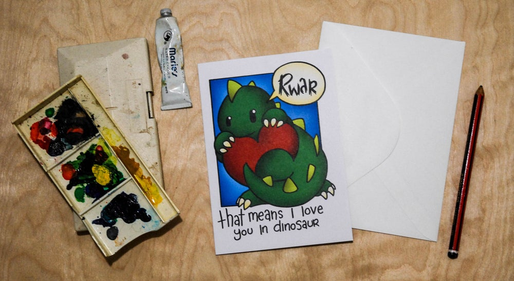 Image of Rwr! Means I love you - Valentines Card