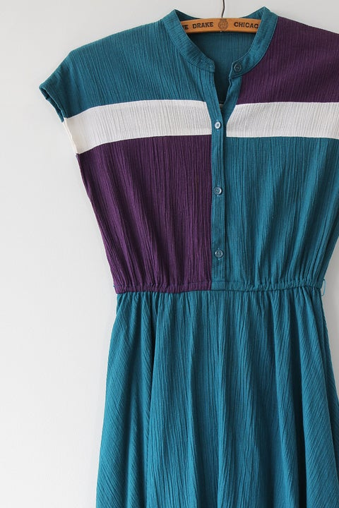 Image of SOLD Colourblock Round Collared Dress