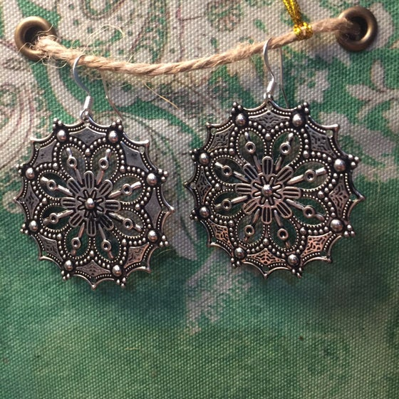 Image of Silver Mandala Earrings