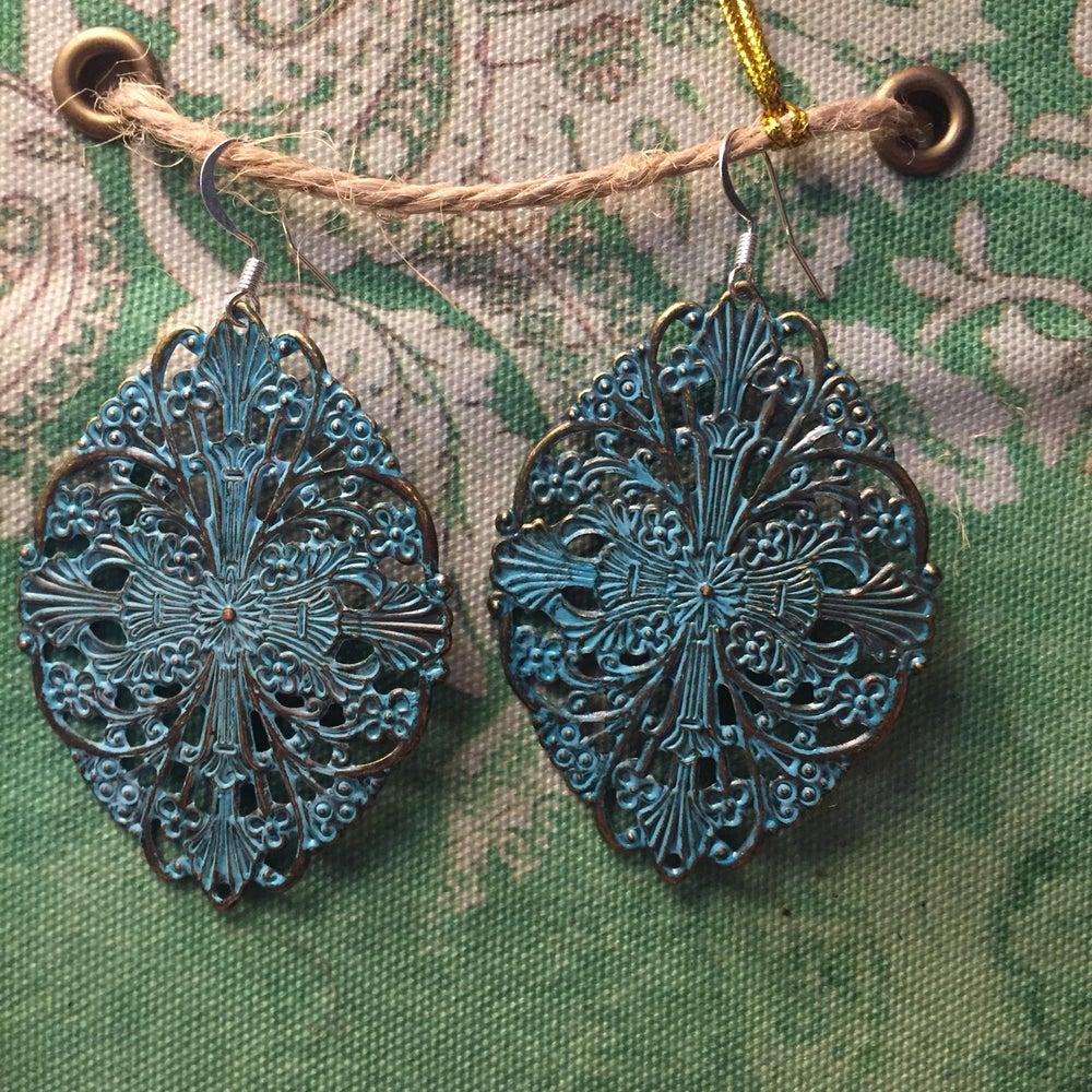 Image of Patina Turquoise Filigree Dangle Earrings