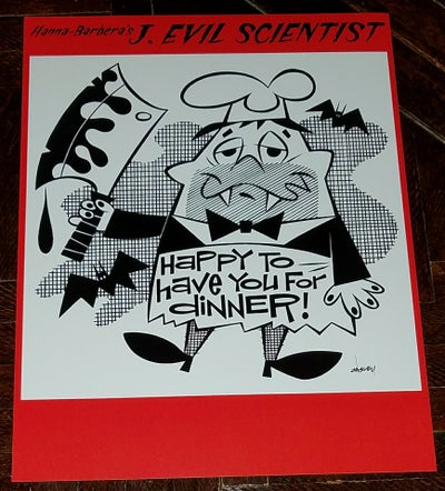 "Image of J. EVIL SCIENTIST ""HAPPY TO HAVE YOU FOR DINNER!"" 8.5x11 PRINT - HANNA-BARBERA"