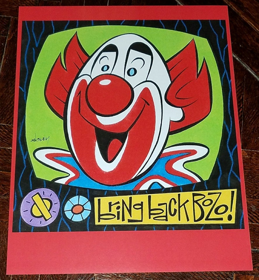 Image of BOZO THE CLOWN 8.5x11 SKETCHBOOK PRINT