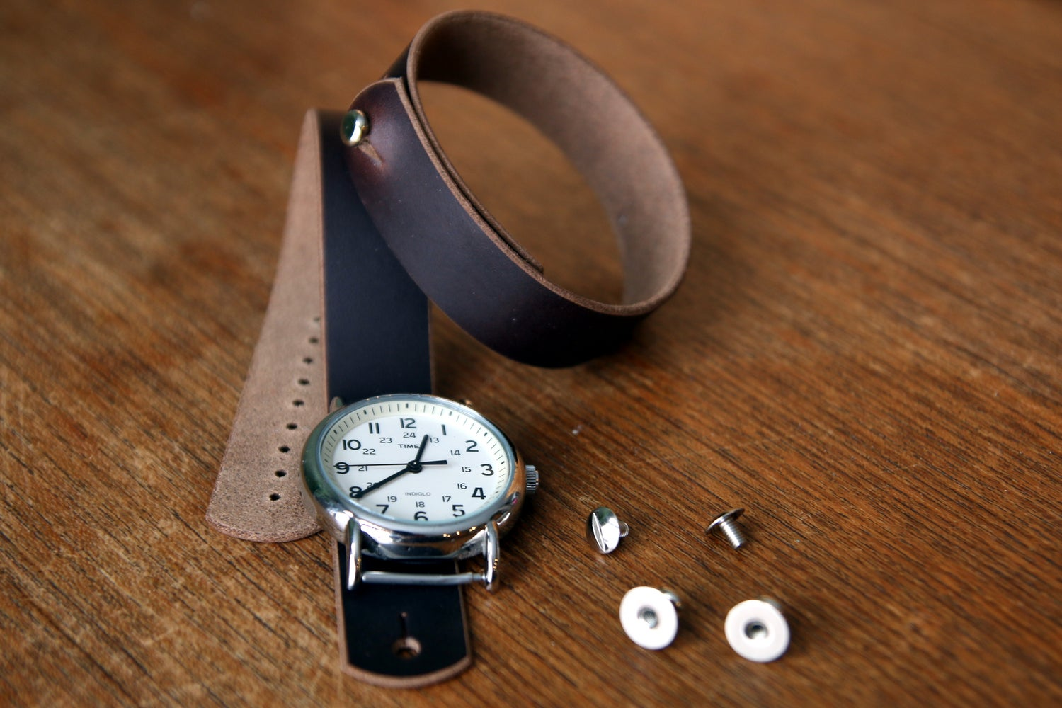 Image of Button Stud Watch Strap in Horween Chromexcel