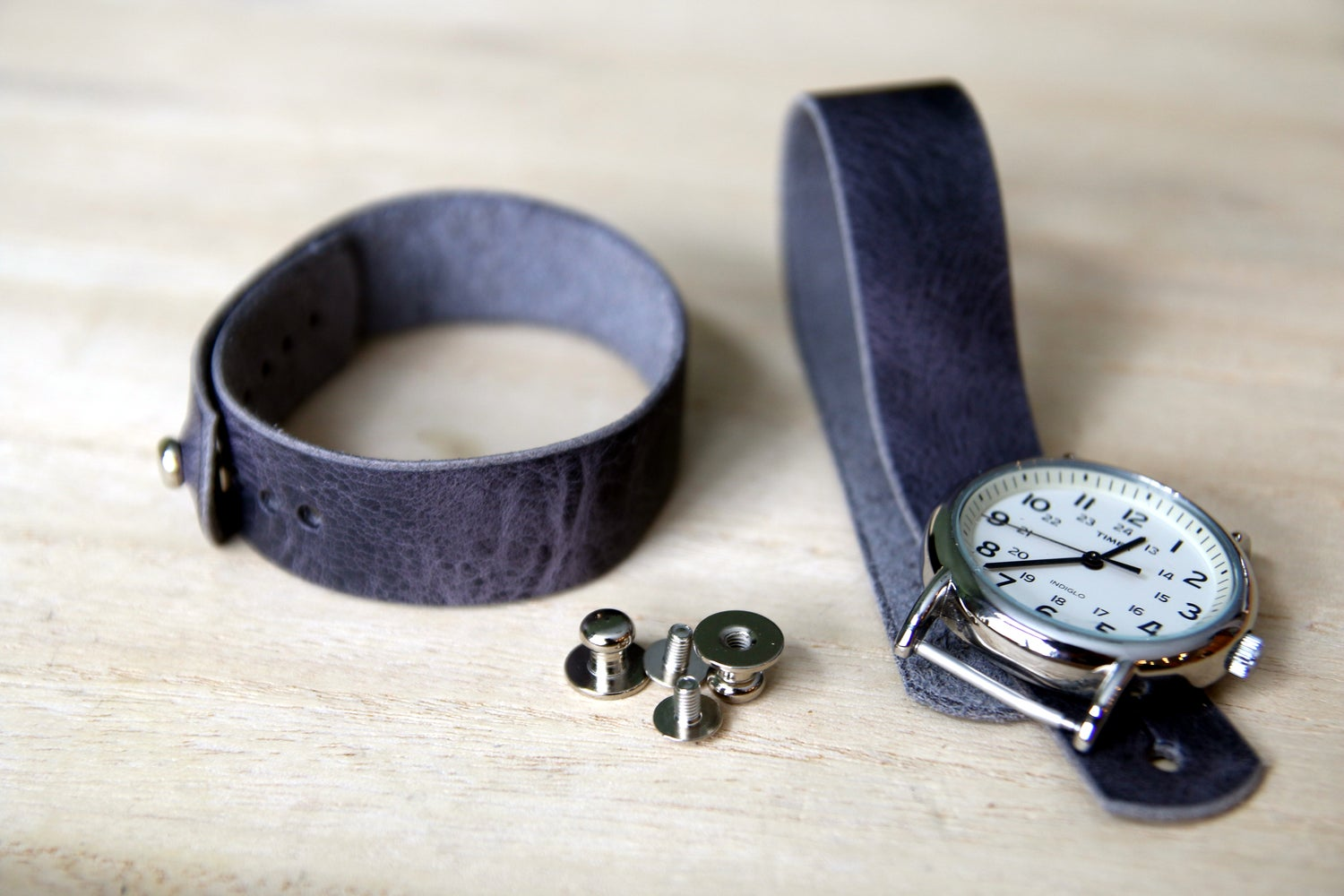 Image of Button Stud Watch Strap - Horween Cascade Grey Vintage