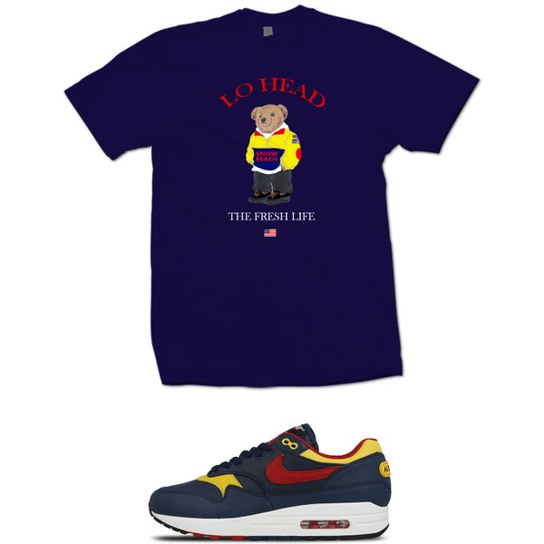 Image of LO HEAD BEAR AIR MAX 1 T SHIRT - NAVY