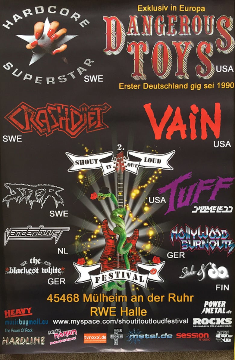 Image of Rock-poster-Glam-Hairband-Vain-Crashdiet-Dangerous-Toys-Hardcore-Superstar-Tuff-poster-Glam-H