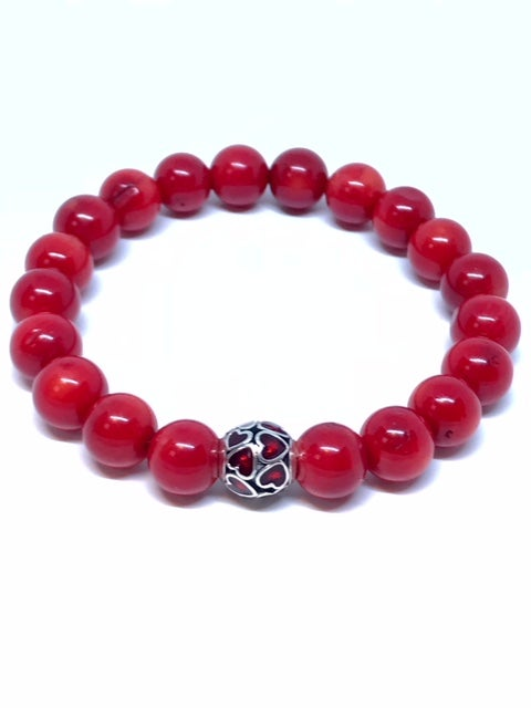 "Image of ""Pure Love of Red"" womans Coral stretch bracelet"
