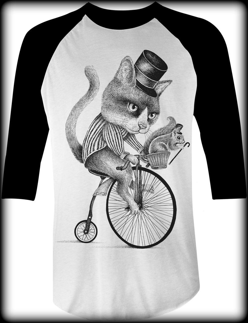Image of Biker Cat Baseball Tee