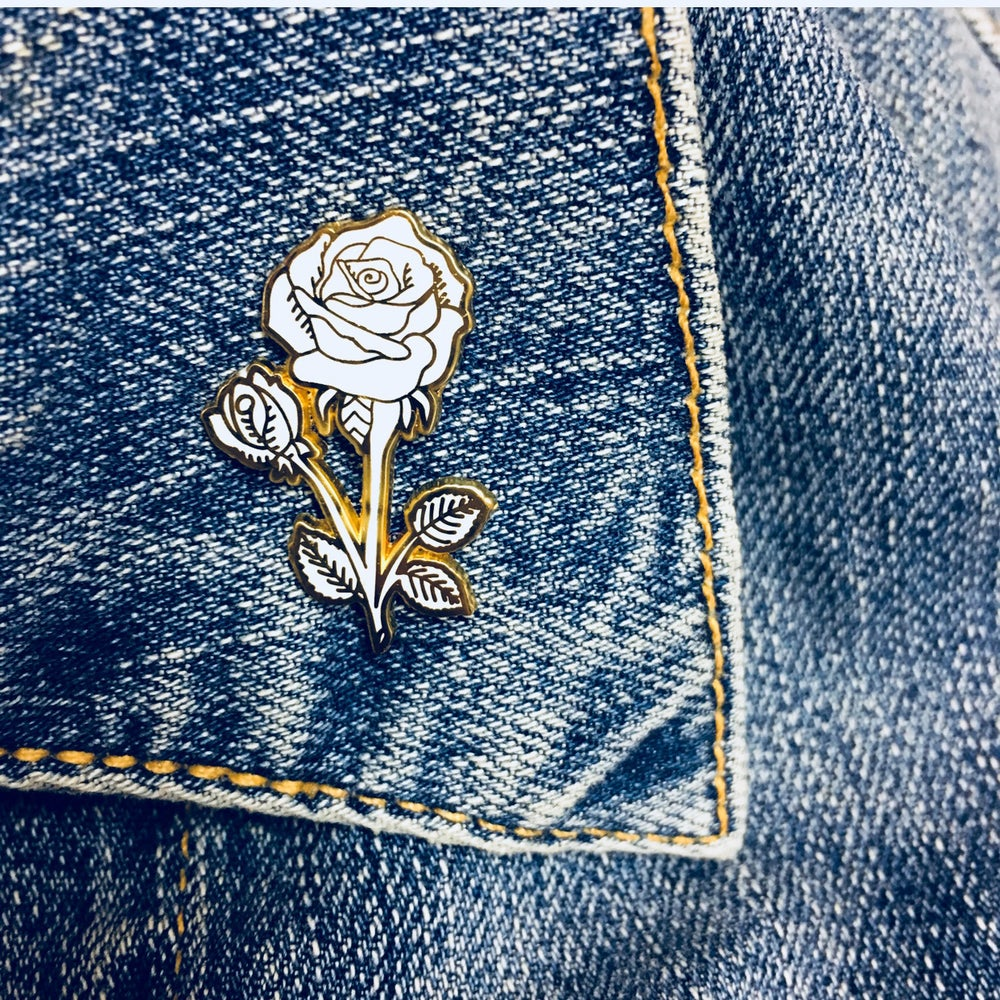 Image of Rose Enamel Pin - White and Gold