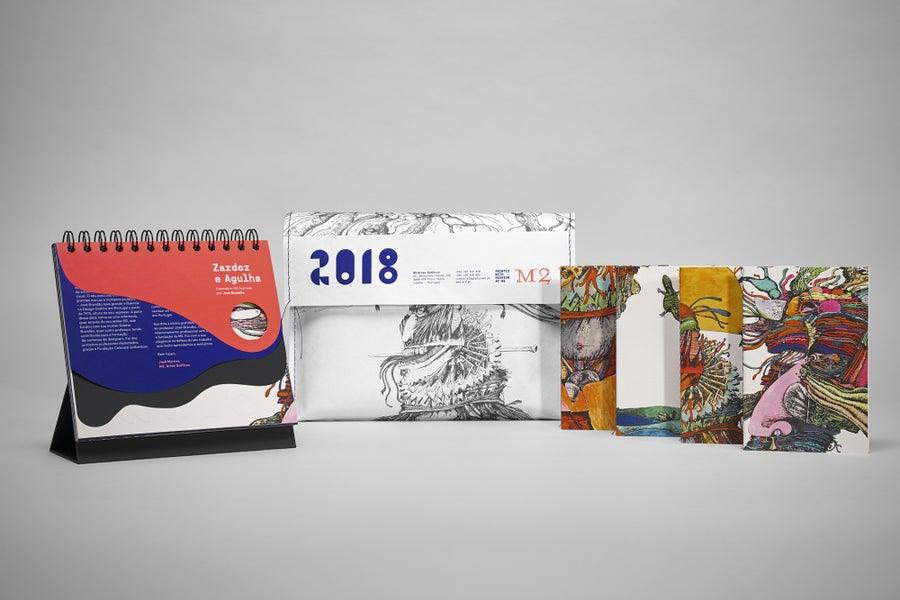 Image of Zardoz e Agulha. Desk calendar illustrated by José Brandão.