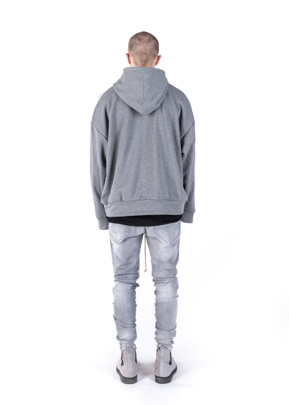 Image of U-F / Urban Flavours Oversized Stripe Hoodie Gray