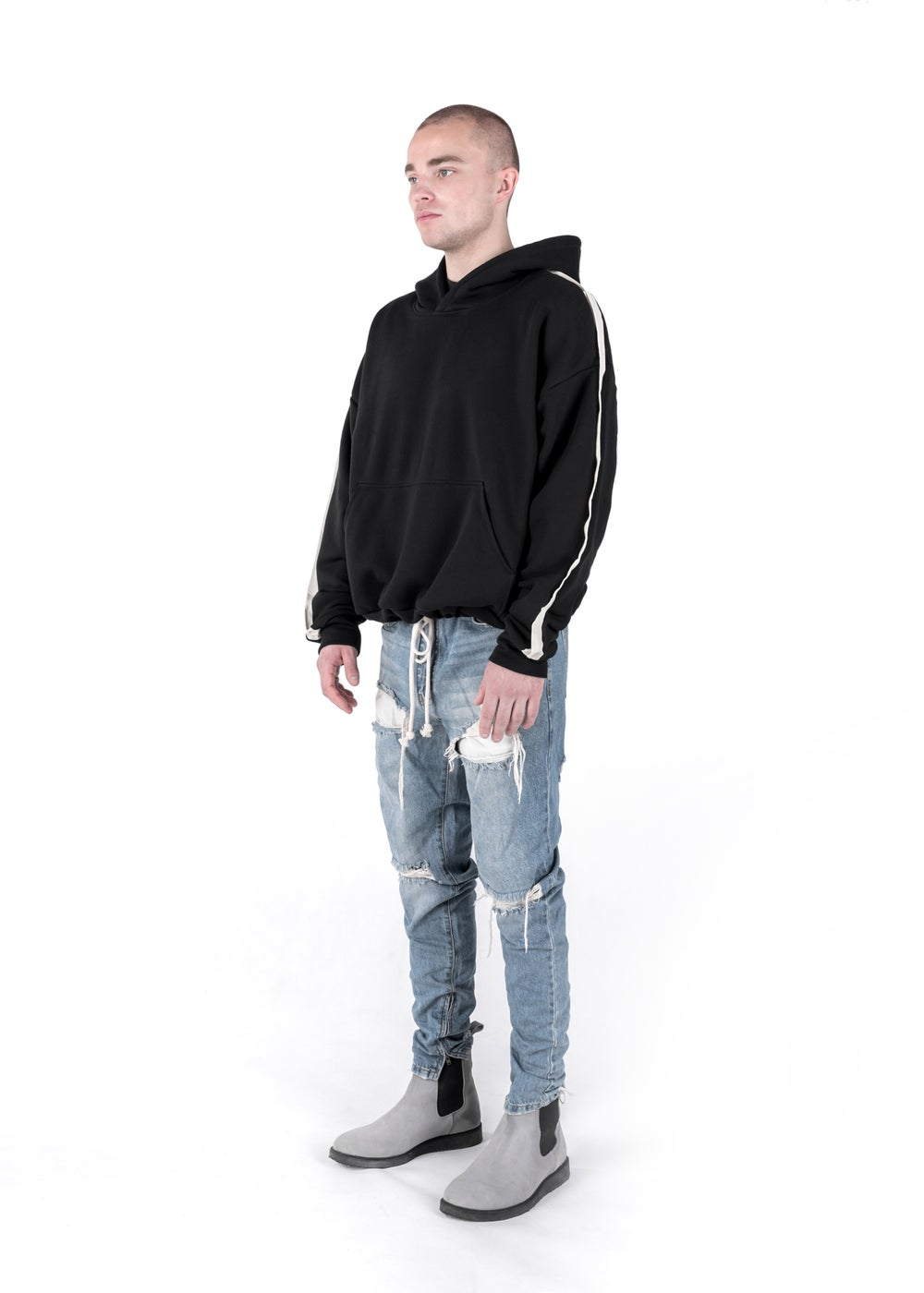 Image of U-F / Urban Flavours Oversized Stripe Hoodie Black