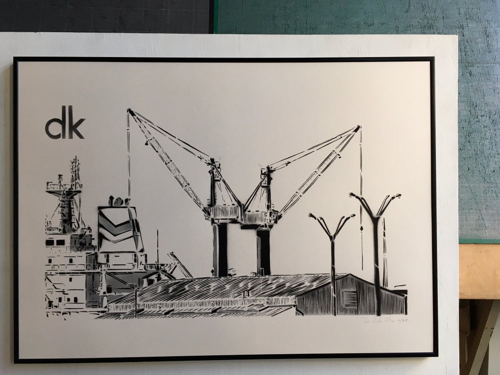 Image of Grues du port - Dunkerque - Monochrome