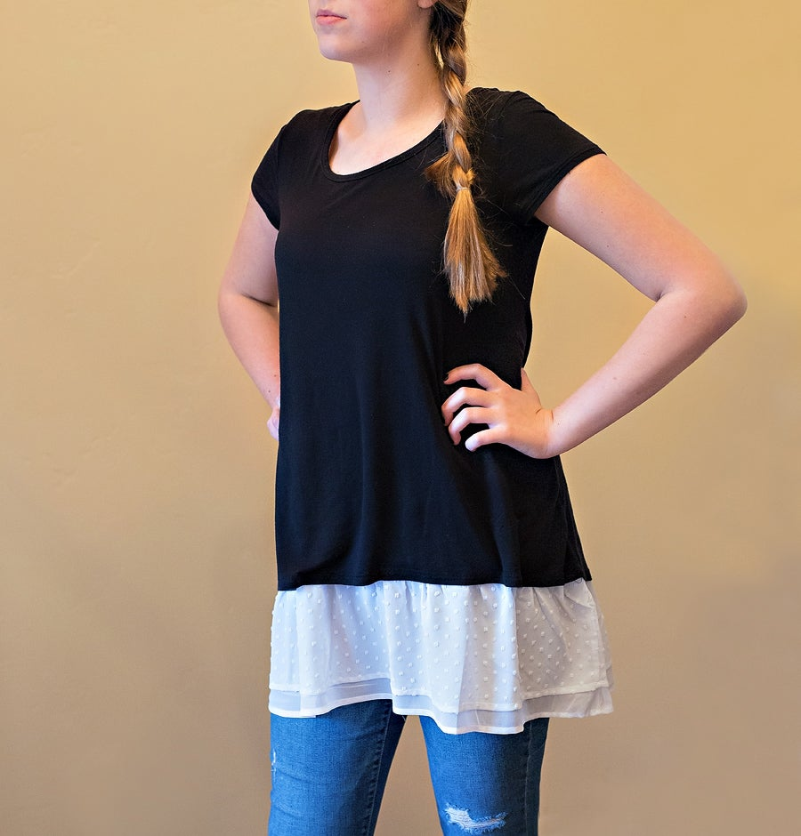 Image of NEW*TopDC2*  Polka Dot Chiffon Top Extender | S-4XL