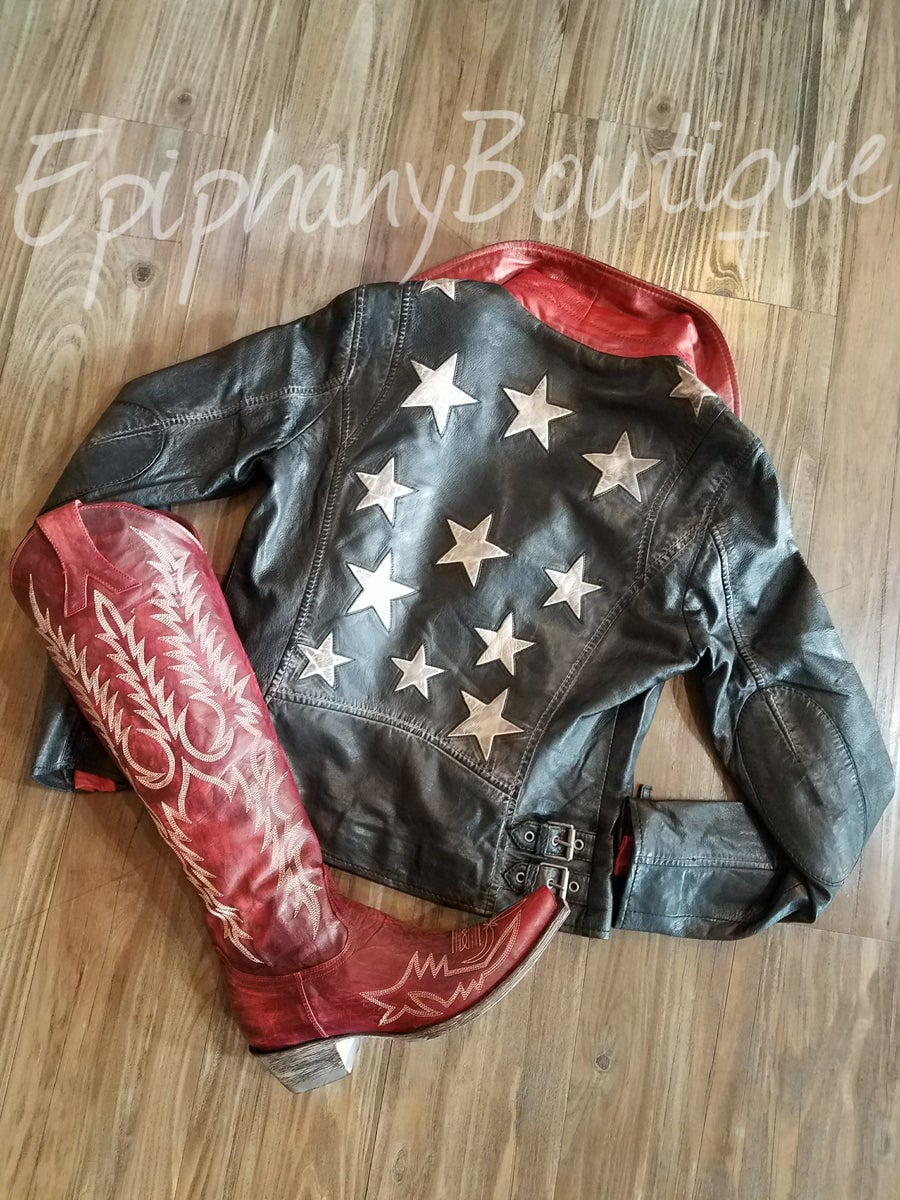 Image of The Vintage 'Black Stars' Leather Jacket