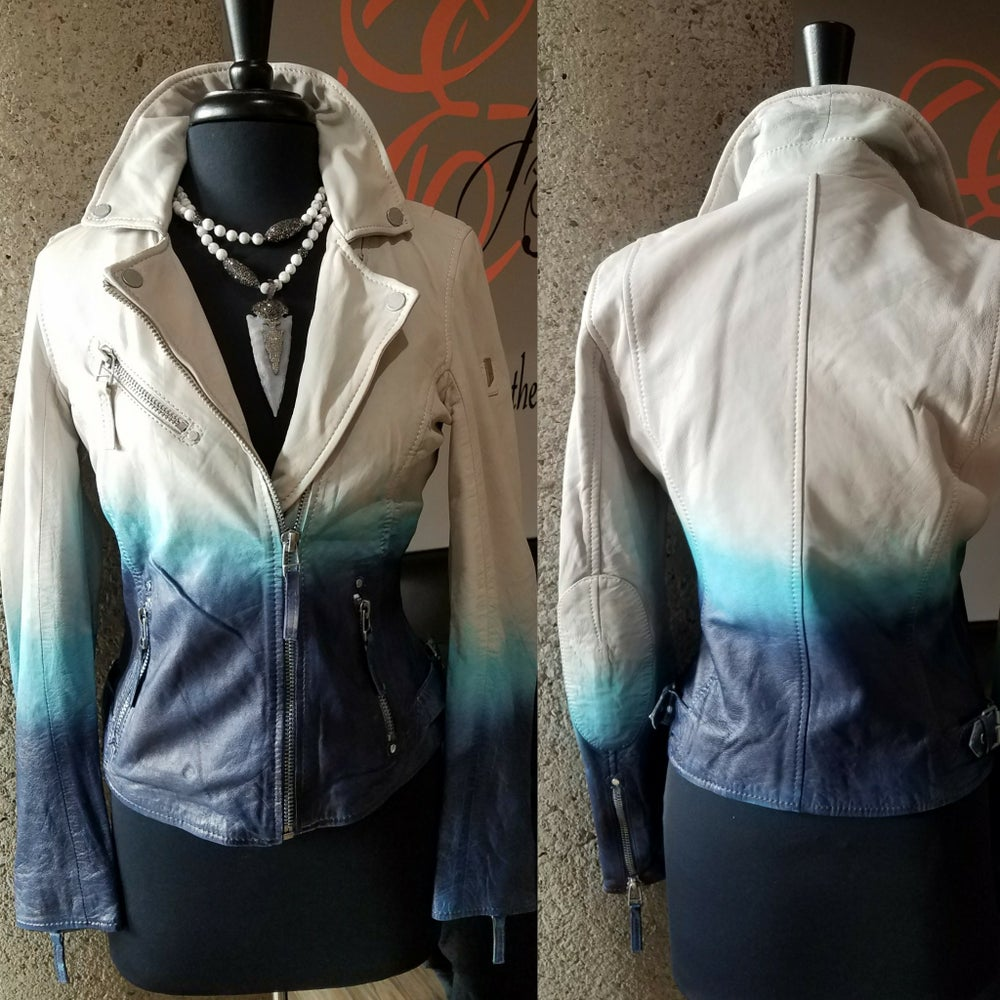 Image of The Shadow Blue Ombre' Leather Jacket-**Regular & Plus/Curvy**