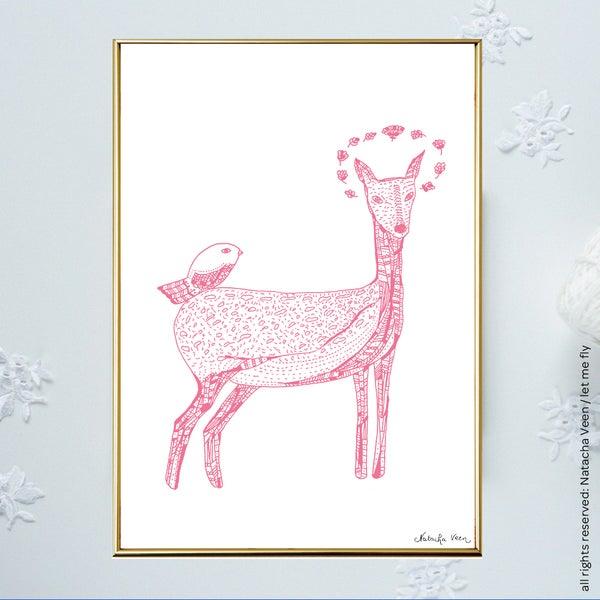 Image of Pink *Bambi Bird*_A4