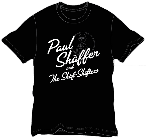 Image of Paul Shaffer and The Shaf-Shifters Mens Silver & Glitter T-Shirt