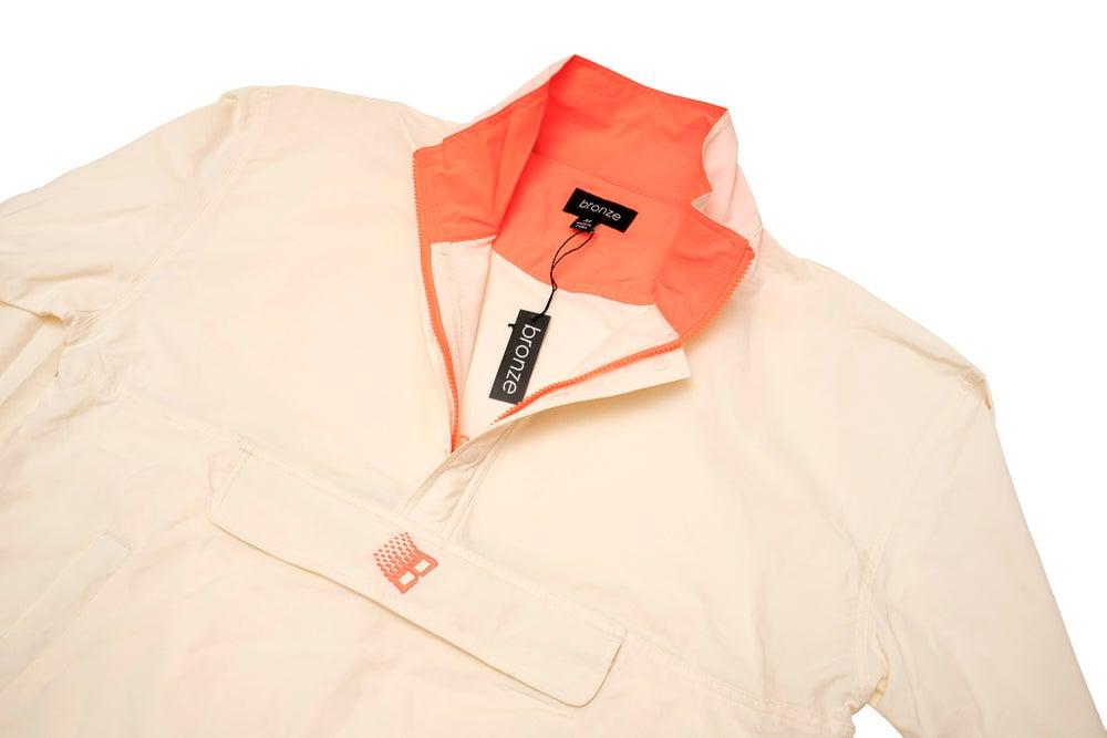 Image of Half Zip Pullover Jacket Cream/Orange