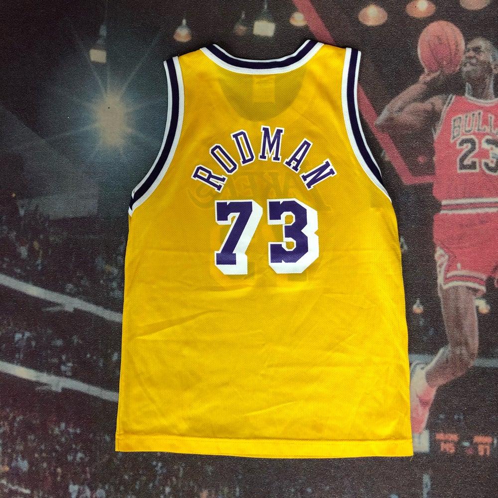 Image of Vintage Champion Los Angeles Lakers Dennis Rodman Jersey Youth Size Medium