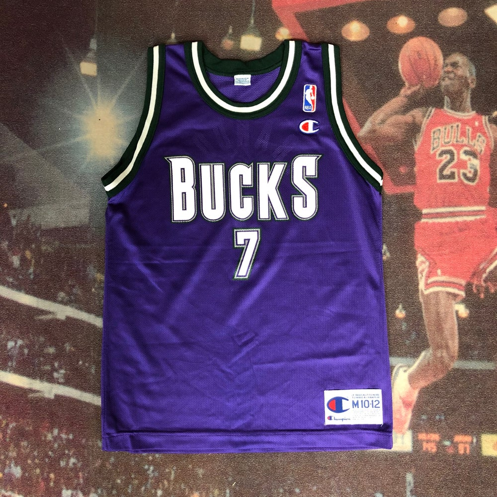 Image of Vintage Champion Milwaukee Bucks Terrell Brandon Jersey Youth Size Medium