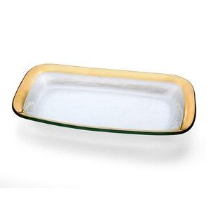 "Image of Annieglass Roman Antique 11x7"" Asparagas Bowl Gold"