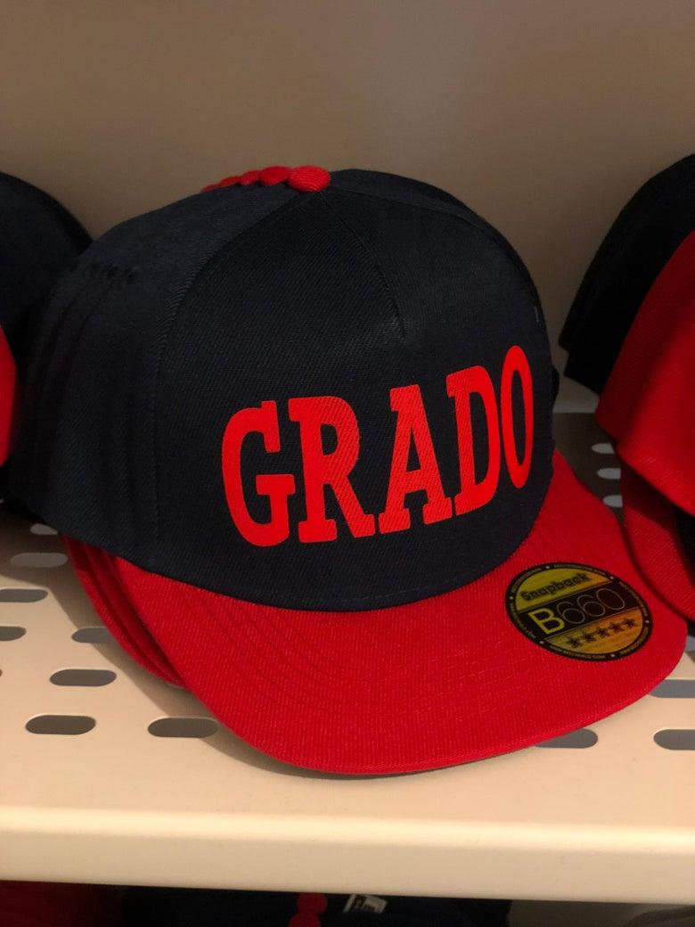 Image of GRADO Snapback Cap (Navy and Red)