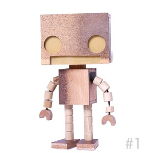 Scrappy  Bot 1/2 Scale wooden Light Up Robot - Matt Q. Spangler Illustration