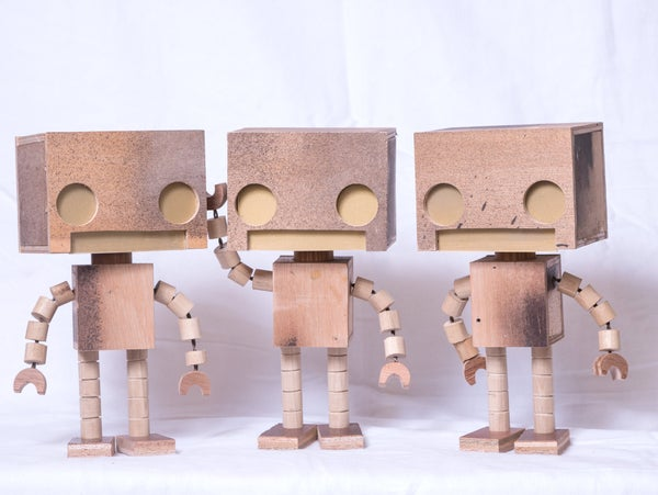 Scrappy  Bot 1/2 Scale wooden Light Up Robot - Matt Q. Spangler Illustration