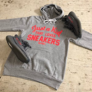 """Image of JUST A KID THAT LOVES SNEAKERS """"BOLD ORANGE/GREY OR OLIVE"""" T-SHIRT OR HOODY"""