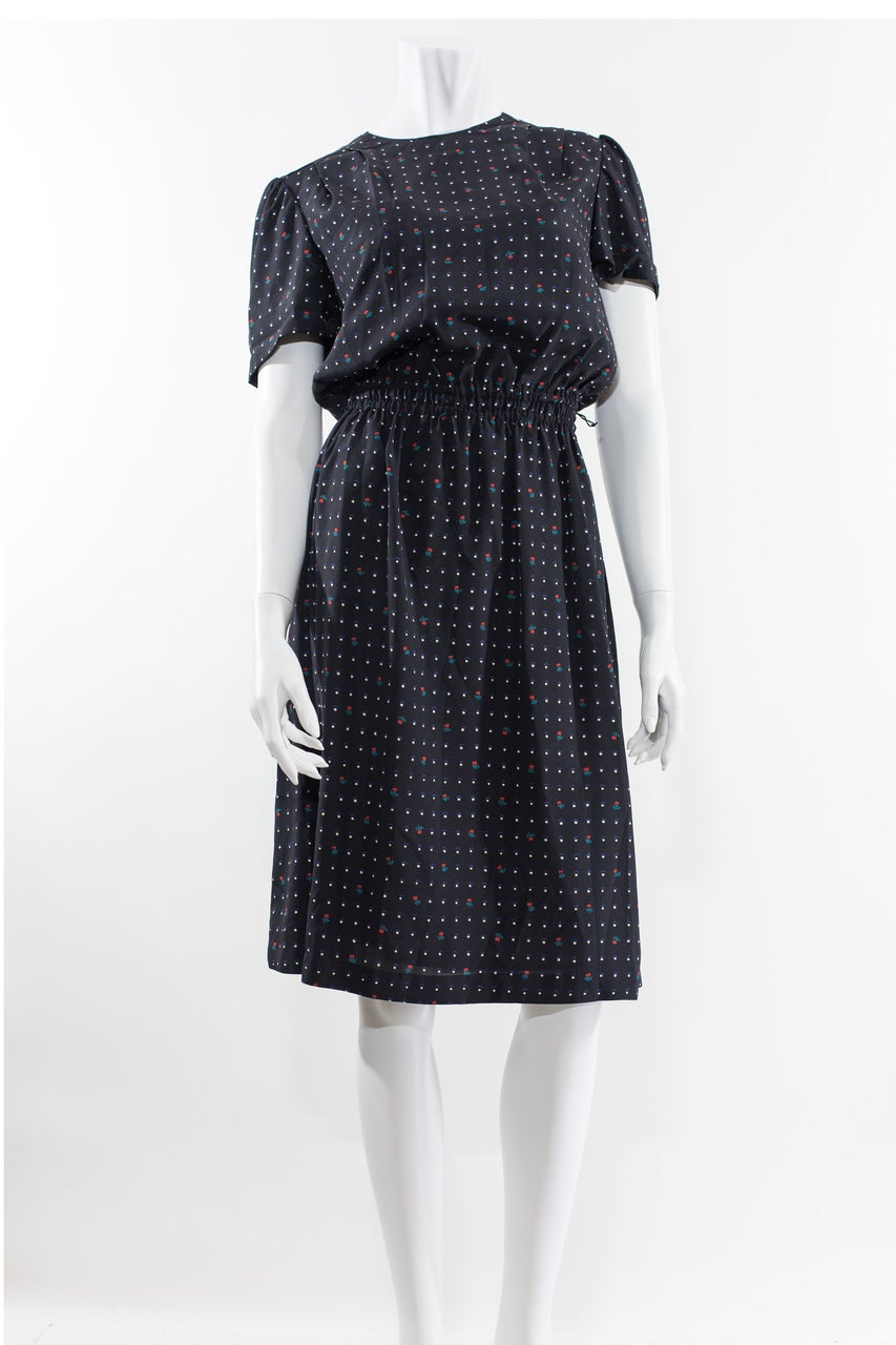 Image of 80s Secretary Polkadot & Floral motif Dress
