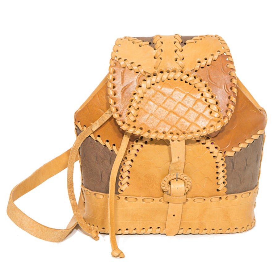 Image of Patched Leather Mini Backpack