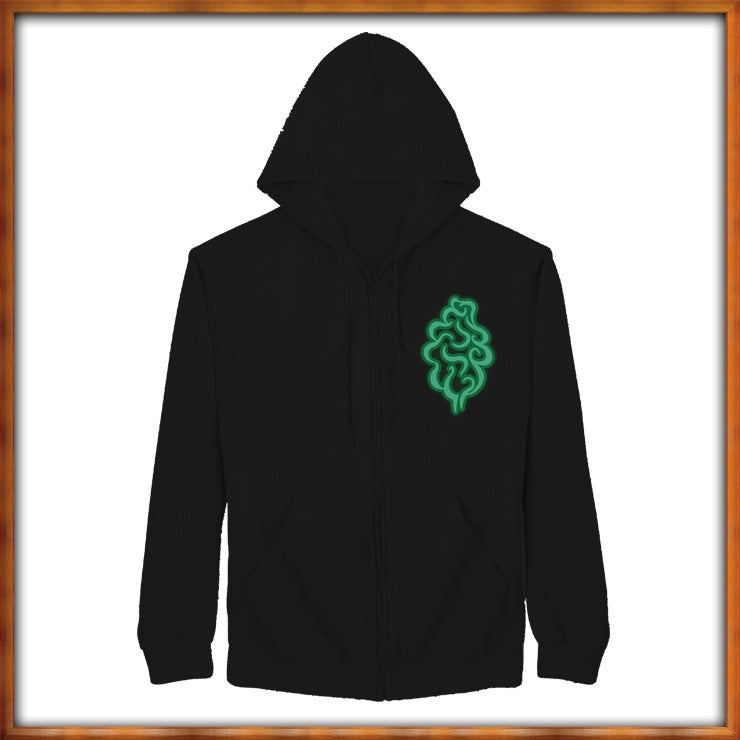 Image of Green Embroidered Tree Logo on a Black Zip Hoodie