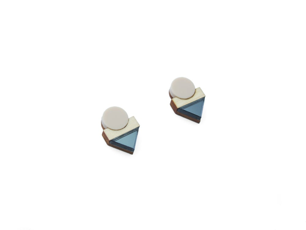 Image of EDIT EARRINGS - BLUE MIRROR
