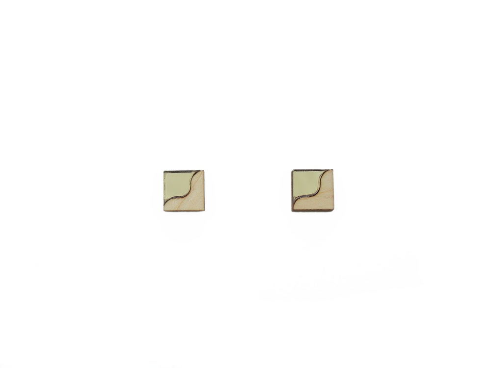 Image of TWO TONE EARRINGS - BRONZE