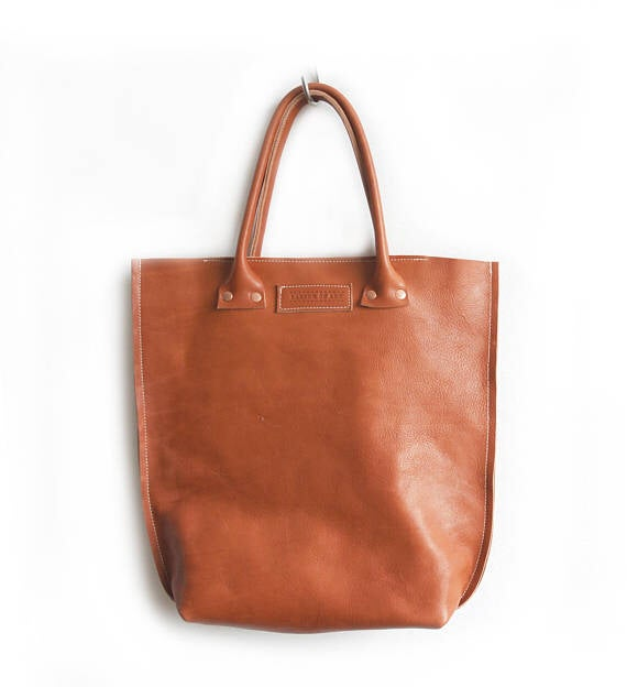 Image of Cognac Colored Vegtan Leather Shopper, Sturdy Terra Cotta Brown Eco Leather Bag