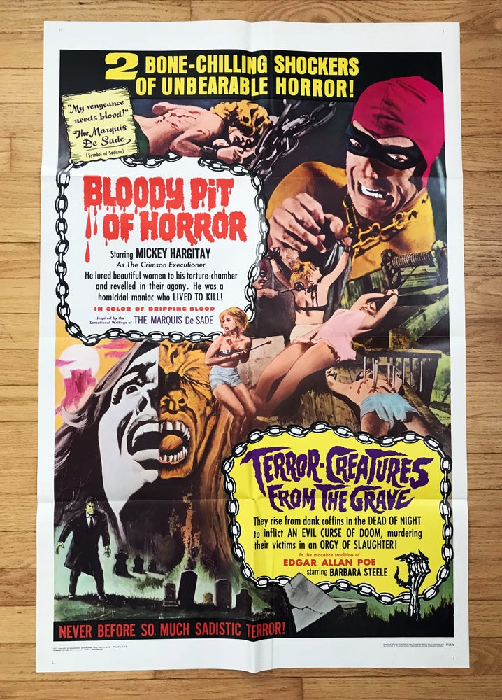 Image of 1967 BLOODY PIT OF HORROR/TERROR CREATURES FROM THE GRAVE Original U.S. Double-Bill One Sheet Poster