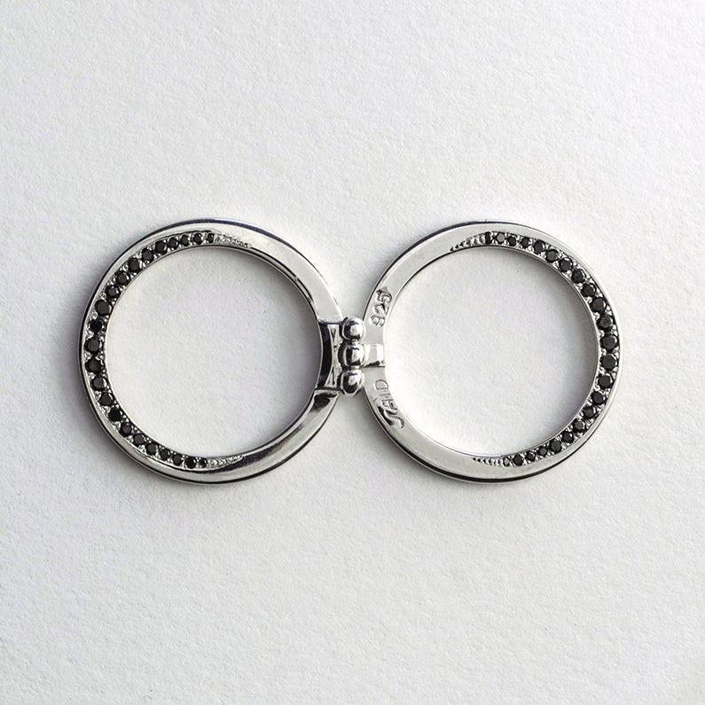 Image of INFINITY FOLDING RING WITH BLACK DIAMONDS / VARIATION FIVE