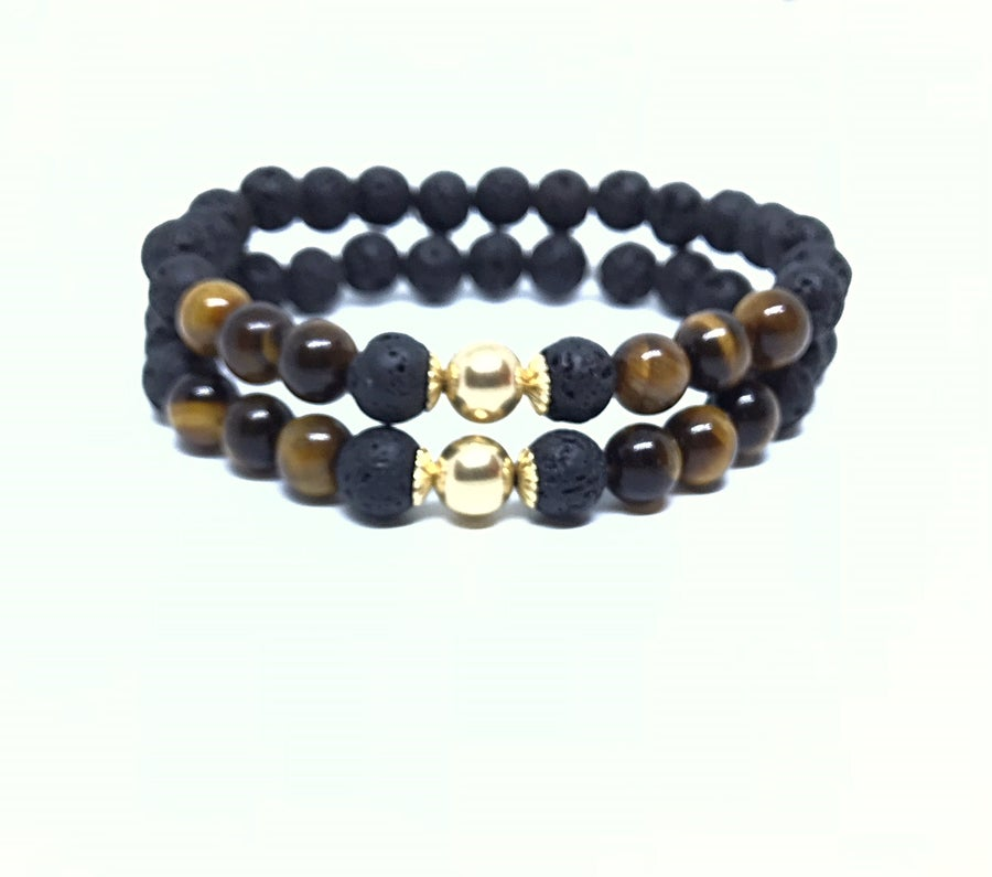 Image of 'Golden knight' mens lava/tiger eye stretch bracelet. (Sold separetly)