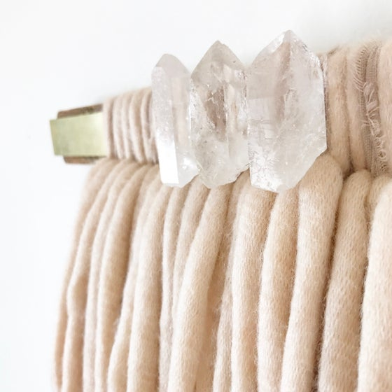 Image of Blush + Brass Wood Bar Quartz Crystal Fiber Art
