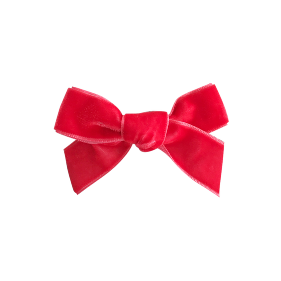 Image of Strawberry French Velvet Bow Clip