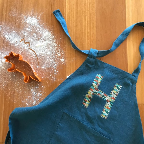 Image of Children's personalised apron in Teal