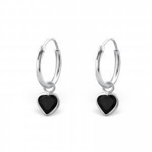Image of Black heart hoops (sterling silver)
