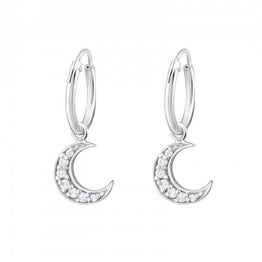 Image of Crystal Moon hoops (sterling silver)