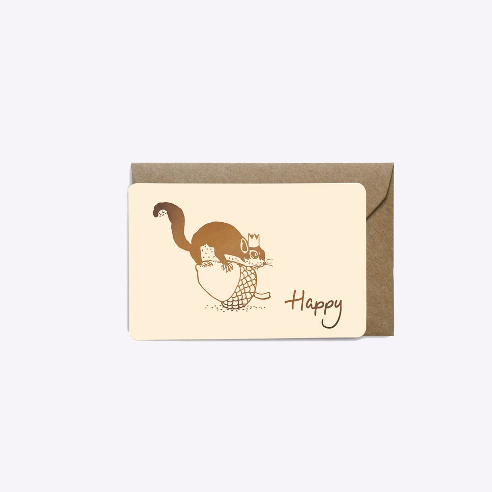 Image of MINI-CARTE HAPPY SQUIRREL BLANC ROSE