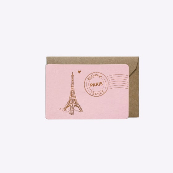Image of MINI-CARTE BISOUS DE PARIS ROSE