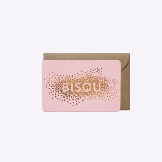 Image of Copy of MINI-CARTE CONFETTIS BISOU ROSE