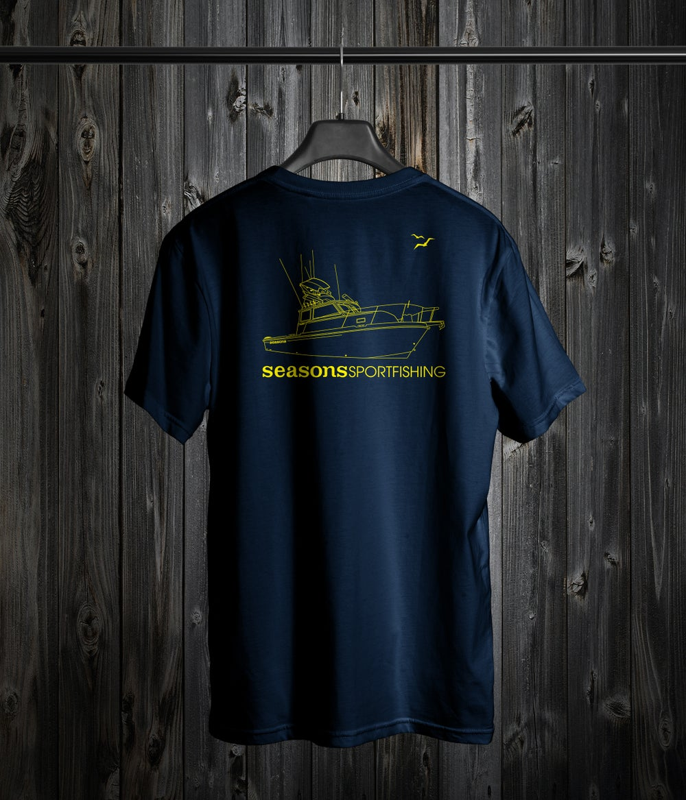 Image of SEASONS - NAVY / YELLOW - BOAT DESIGN