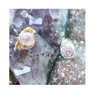 Image of Dusky Pink Cosmic Ring - Aura Agate Crystal