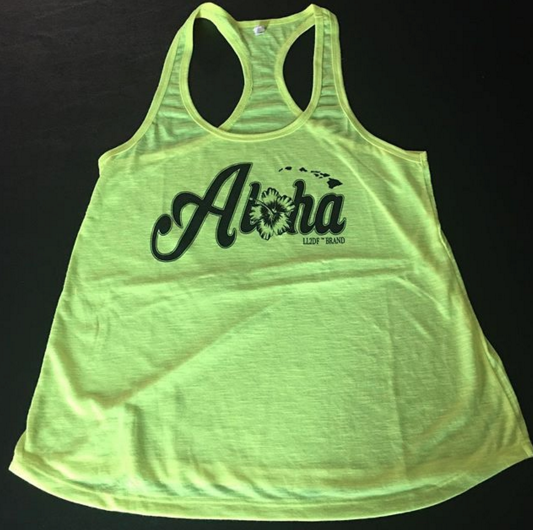 Image of NEON YELLOW FLOWY ALOHA TANK TOP